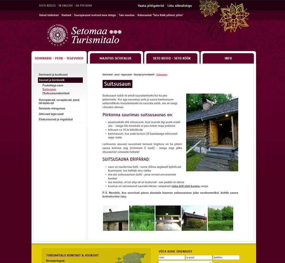 Setomaa Turismitalo kodulehekülg