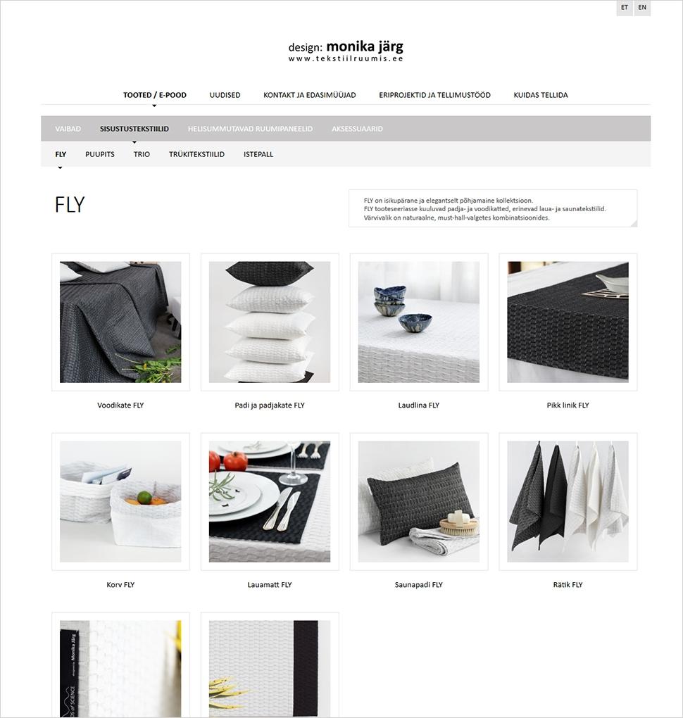 Monika Järg - disaineri lehekülg ja e-pood